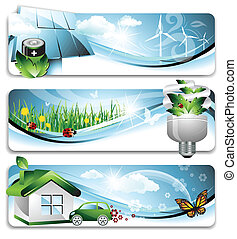 Vector illustration representing three abstract banners with ecological concepts.