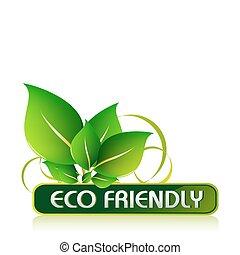 eco, barátságos, ikon