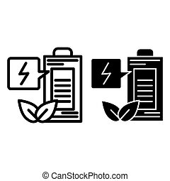 Eco battery line and glyph icon. Ecology charge vector illustration isolated on white. Ecology accumulator outline style design, designed for web and app. Eps 10.