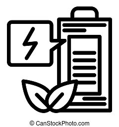 Eco battery line icon. Ecology charge vector illustration isolated on white. Ecology accumulator outline style design, designed for web and app. Eps 10.