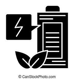Eco battery solid icon. Ecology charge vector illustration isolated on white. Ecology accumulator glyph style design, designed for web and app. Eps 10.
