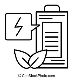 Eco battery thin line icon. Ecology charge vector illustration isolated on white. Ecology accumulator outline style design, designed for web and app. Eps 10.