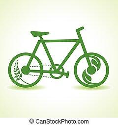 eco, bicicleta, hoja, verde