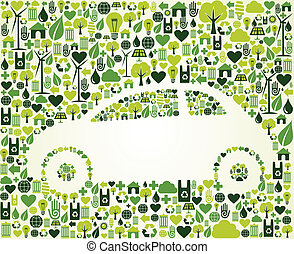 eco, bil, sätta, grön, ikonen