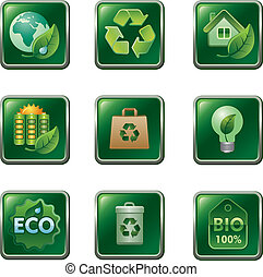 eco, bio, セット, アイコン