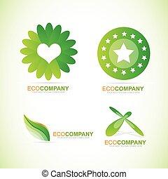 eco, bio, セット, ロゴ, アイコン