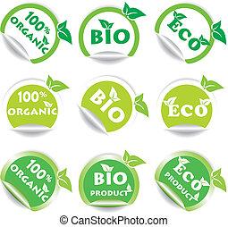 eco, bio, adesivos, jogo, verde
