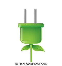 green electric plug illustration