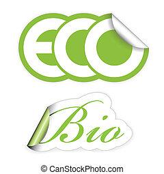 eco, bio, etiketten, set