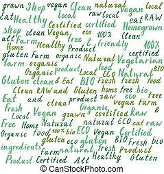 Eco, bio, natural green watercolor fonts,