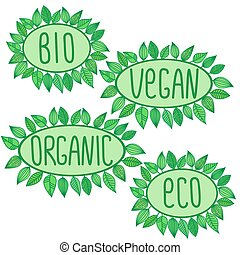 Eco, bio, organic, vegan sign in green oval badge with leaves around, vector label illustration, ecological concept stickers