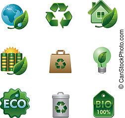 eco, bio, sätta, ikon