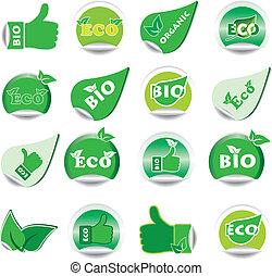 eco, bio, stickers., セット, 緑