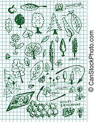 eco, bio, y, naturaleza, símbolos