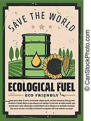 eco, biodiesel, kraftstoff, ökologisch, welt, retten,...