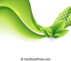 eco, blätter, vektor, grün, welle