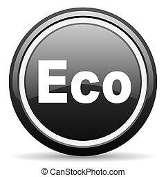eco black glossy icon on white background