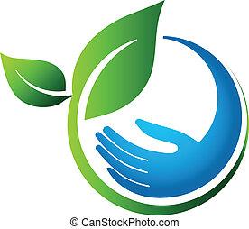 eco, bladen, grön, hand