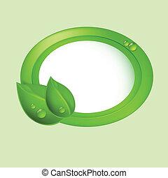 eco, bladeren, concept., groene, circle.