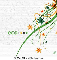eco, bladeren, groene, conceptueel, ontwerp, witte