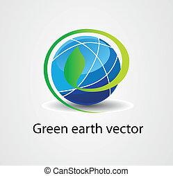 eco, block, mull, logo, vektor, grön