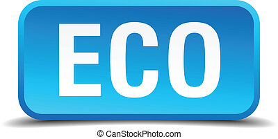 eco blue 3d realistic square isolated button