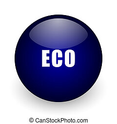 Eco blue glossy ball web icon on white background. Round 3d render button.