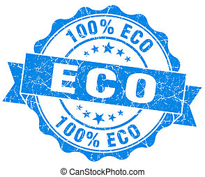 eco blue vintage seal isolated on white