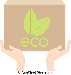 Eco box in hand, vector ecology concept