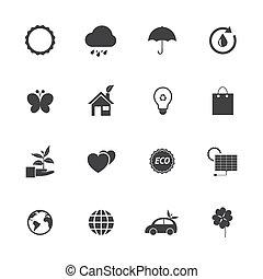 eco, branca, jogo, pretas, ícones