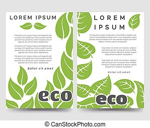 Eco brochure template with green leaves