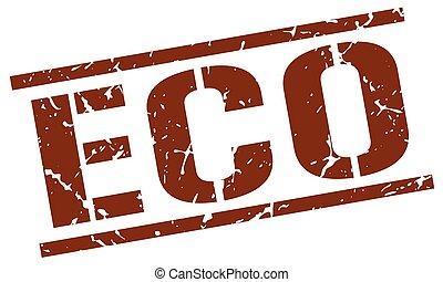 eco brown grunge square vintage rubber stamp