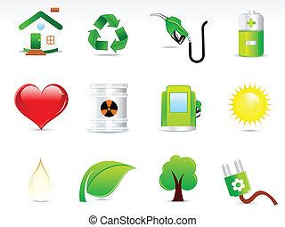 eco, bstract, セット, 緑, アイコン