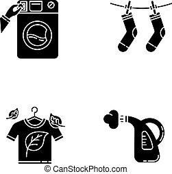 eco, bucato, silhouette, nero, illustrazione, glyph, asciutto, esterno, service., isolato, vettore, set, drying., vapore, lavaggio, space., symbols., moneta, vestiti, washateria, icone, pulizia, bianco