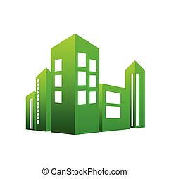 eco building green vector illustration