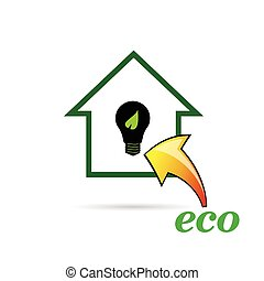 eco bulb and house vector