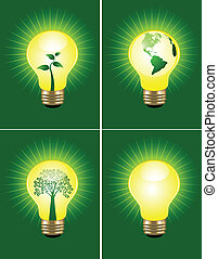 Vector illustration of eco bulb collection
