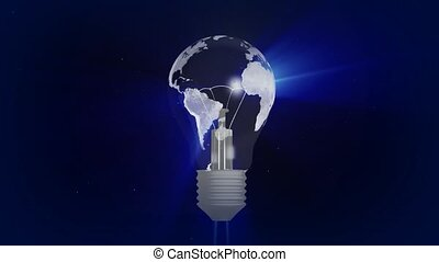 Eco bulb, electric light bulb with the world map, 3D animation