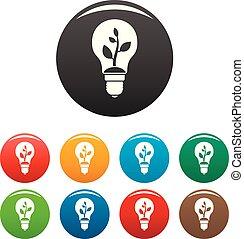 Eco bulb icons set color