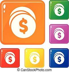 Eco bulb icons set vector color