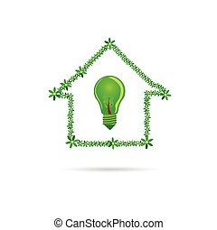 eco bulb in green house vector