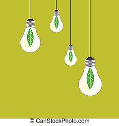 eco bulb vector on green