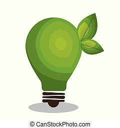 eco, bulbo, luz verde