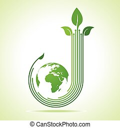 Eco business logo with earth