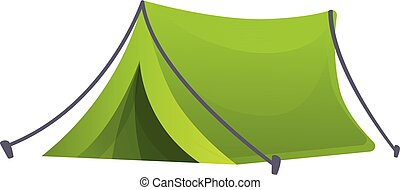 Eco camping tent icon, cartoon style - Eco camping tent icon...