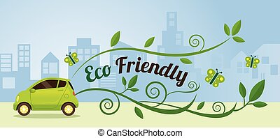 Eco Car and Environment in Urban City Illustration -...