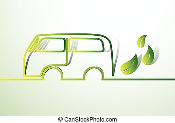 Eco car concept green drive with leaf symbol, vector ...