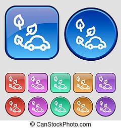 eco car icon sign. A set of twelve vintage buttons for your design. Vector