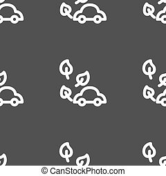 eco car icon sign. Seamless pattern on a gray background. Vector