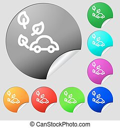 eco car icon sign. Set of eight multi colored round buttons, stickers. Vector